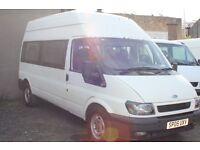 FORD TRANSIT 350 LWB 15 SEAT MINI BUS – 05-reg