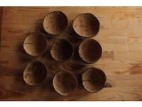 Set of 8 Handmade coconut bowls