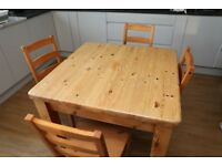 kitchen dining table with four chairs , square wooden table and four chairs
