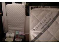 Mamas & Papas mattress, Tommee Tippee bins, nappy bags & wipes & box, stool and dishwasher holder