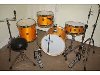 "Mapex Horizon ""Rattan Yellow"" Lacquered Wood Full 4 Piece Birch Club Classic 18inch Jazz Drum Kit"