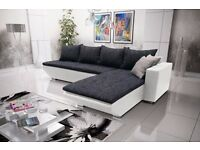 Corner sofa bed sofa bed UK STOCK 1-5 DAY DELIVERY(Black-White)