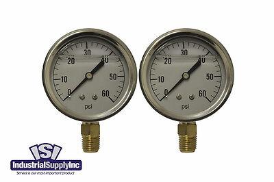 2-pk 0-60 Psi 2.5 Hydraulic-air-water Pressure Gauge