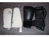 12 0z ever last Boxing Gloves and domyos shin pads MMA Martial Arts Training padding guards Kickbox