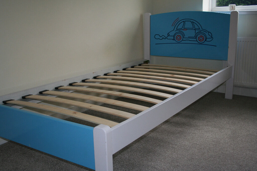 Boys Blue Car Single Bed Frame