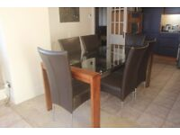 Glass Top Wooden Frame Dining Table with 6 Leather Seats