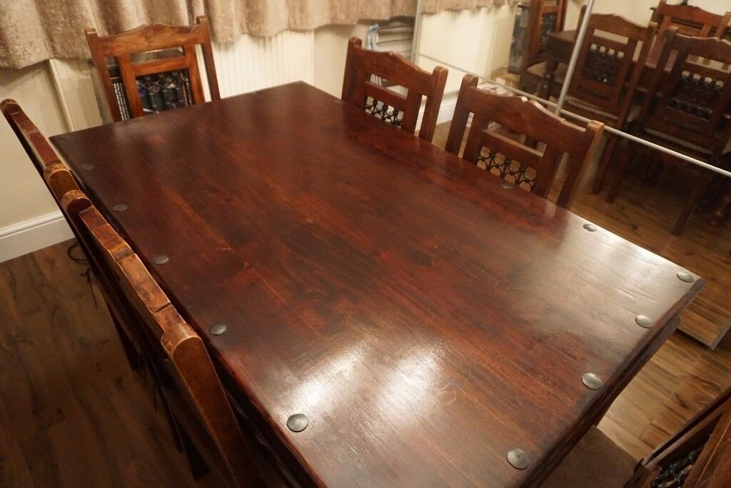 Dining Table & 6 Chairs Set, Beautiful Indian Sheesham Wood & cast iron, 6-seater, Dining Room Table