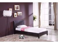 DESIGNER FURNITURE-Single Size Leather Bed In Brown Color - Frame W Opt Mattress-CALL NOW