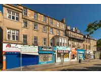 Fully refurbished, two double bedroom, two bathroom, first floor flat situated on Nicolson Square