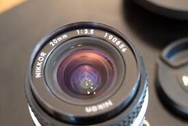 Nikon 20mm f3.5 manual focus lens.