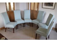 Set of 6 upholstered dining chairs covered in brand new quality fabric