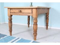 DELIVERY OPTIONS - SOLID PINE ANTIQUE TABLE WITH DRAWER RUSTIC CHARACTER