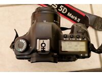 Canon EOS 5D Mark II body with low shutter count, battery grip, charger, 2 batteries, 3 CF cards