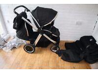 Babystyle Oyster Max 2 pram with extras - Black / chrome frame CAN POST