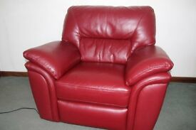 Red Leather Electric Relining Armchair 4 Sale