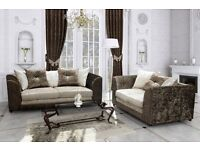 * 1 YEAR WARRANTY * BRAND NEW JULIE CORNER OR 3 + 2 SET IN CRUSHED VELVET ON SPECIAL OFFER