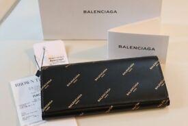 BALENCIAGA Bazar Gold Logo Black Leather Long Wallet with Coin Purse in Box