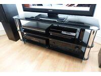 Black Glass / Silver / Chrome TV Stand