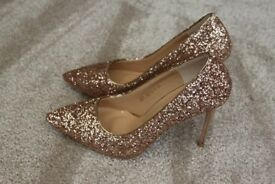 Brand New - Sparkly Sequin High Heels - Rose Gold