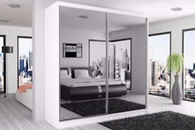 BRAND NEW GERMAN FULLY MIRRORED 203CM BERLIN SLIDING DOOR WARDROBE WITH SAME DAY DELIVERY