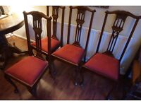 4 elegant dark wood antique chairs (believed to be 1920's) - Location Underwood Notts, nr J27 of M1