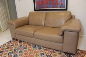 Sofa - Natuzzi beige leather 2010 very good condition Neutral Bay North Sydney Area Preview