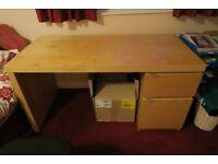 IKEA wood finish single pedestal desk,