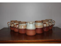 Set of 6 Cups And a Milk Jug Glazed Pottery Studio Pottery Unusual Coffee Tea Cup Mug