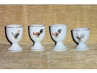 Set of 4 Vintage Egg Cups with Chicken Design for Your Breakfast Eggs, Histon