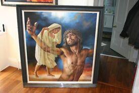 Pieta at The Cross-Original Acrylic on Canvas by Rafael Merinoo.