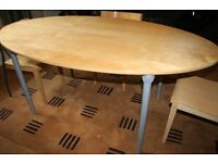OVAL BIRCH DINING TABLE AND 4 CHAIRS