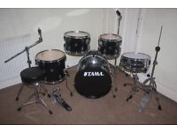 Tama Stagestar Black 5 Piece Full Drum Kit (18 in bass) complete with Sabian Solar Cymbal Set