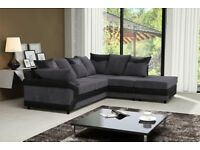 Cheapest Price Offered! Brand New Dino Jumbo Cord Corner Sofa Suite or 3 and 2 Set Black and Brown
