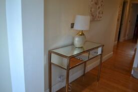 Hallway table (console). Mirrow glass and antique gold. Bought from NEXT in very good condition .