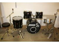 Vintage Premier APK Black 5 Piece Full Drum Kit Made in England 1990s with 22in Bass