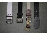 4 x men's belts (2 x brown leather, 1 x cream woven-style, 1 x white jute-style)