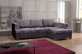 *7-DAYS MONEY BACK GUARANTEE* MADEIRA CHNEILLE FABRIC CORNER SOFA BED SETTEE IN BLACK GREY STORAGE