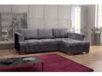**FREE DELIVERY** BRAND NEW MADEIRA JUMBO CORD FABRIC CORNER SOFA BED SETTEE IN BLACK/BROWN SOFABED