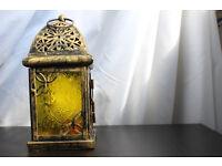 Moroccan Style Hanging Glass Lantern Tarnished Metal Flaw