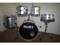 Mapex V Silver 5 Piece Full Drum Kit (18in Bass) with all stands and Sabian Solar Cymbal Set