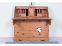 DELIVERY OPTIONS - RUSTIC OLD SOLID PINE WRITING BUREAU/DESK WITH DRAWERS