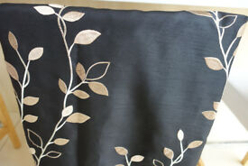 Two pairs black shot-silk effect gold embroidered lined curtains