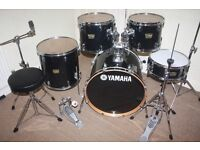 Yamaha YD Series Black 5 Piece Complete Drum Kit with Sabian Solar Cymbal Set