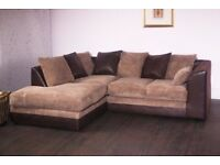 BLACK GREY , BROWN BEIGE***BRAND NEW JUMBO CORD BYRON CORNER / 3+2 SOFA SET -GET IT TODAY