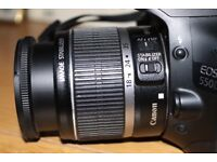 Canon 550d EOS 18 MP. with standard 18-55mm lens and spare batteries.