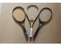 GROUP OF THREE TENNIS RACKETS, TECNO, HEAD AND WILSON