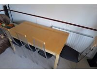 DINING TABLE + 4 CHAIRS - Very good condition