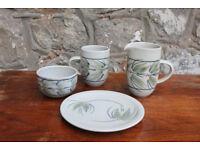 Handmade Studio Pottery Hand Made by Louise Darby - Milk Jug, Sugar Bowk, Mug and Side Plate Art
