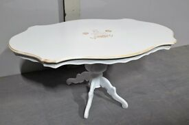 Upcycled Vintage White & Gold Shabby Chic Dining Table