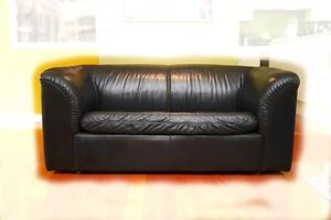 Black Leather 2.5 Seat Sofa (one or a pair) Leura Blue Mountains Preview